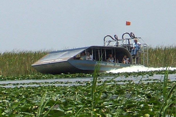 Takin' a snapshot of another airboat during my tour at Everglades Holiday Park in Florida...on August 15, 2008.