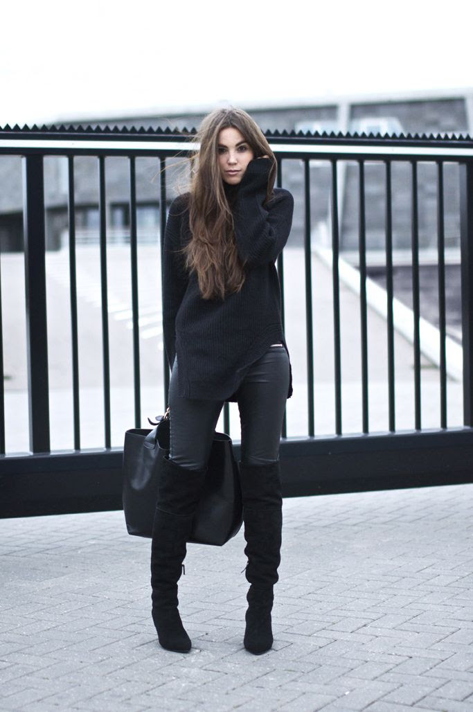 Over the knee boots can still look sophisticated.