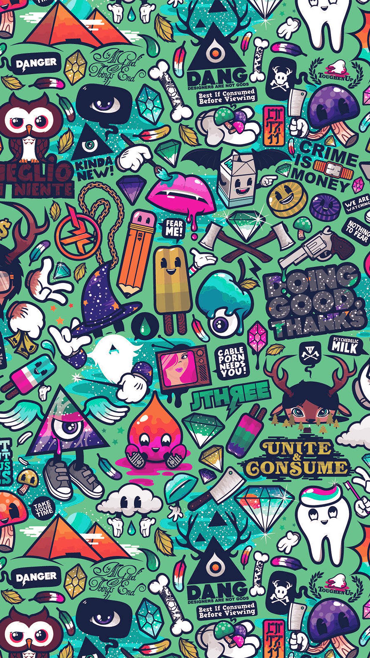 Papers Co Iphone Wallpaper Aq62 Art Work Pattern Illustration Graffiti Green