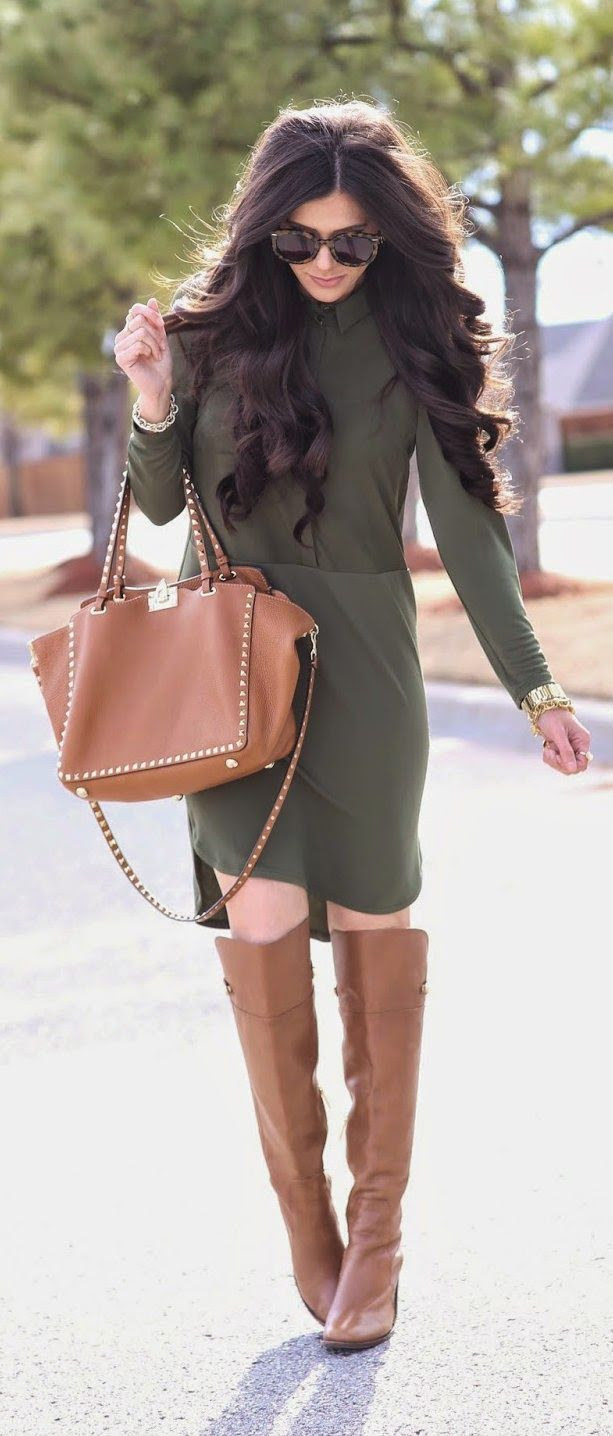OLIVE / COGNAC - Hybrid Shirtdress, studs leather handbag, over the knee boots and fall accessories / The Sweetest Thing