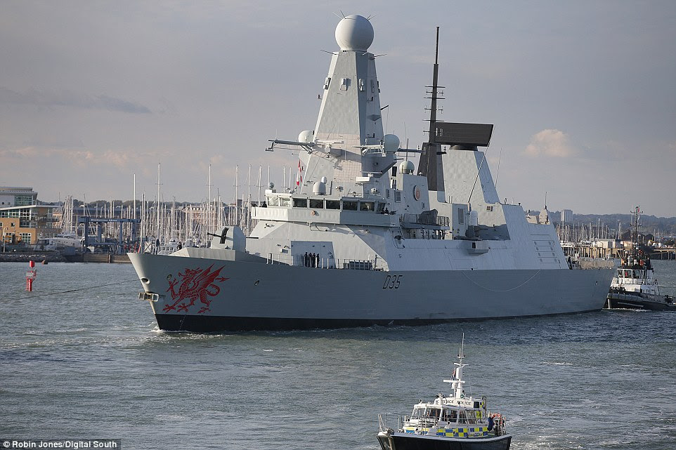 A state-of-the art destroyer has been dispatched to join Royal Navy ships monitoring Russian warships who are on their way to the Mediterranean. Pictured, HMS Dragon leaving its Portsmouth base