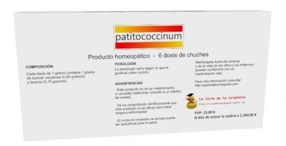 """Caja de """"patitococcinum"""" indicando su composición: solo azúcar"""