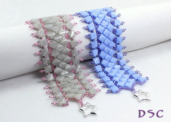Silky Diamond Beadweaving Cuff Gray Pink by DesertStarCreations, $52.99
