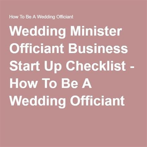 Wedding Minister Officiant Business Start Up Checklist