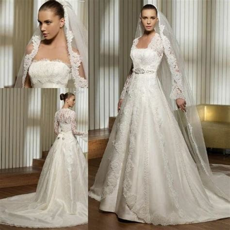 Strapless Princess Wedding Dress With Long Lace Sleeves