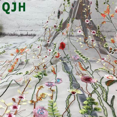 1yard QJH Fashion Hot Sale Flower Net Embroidered Fabric