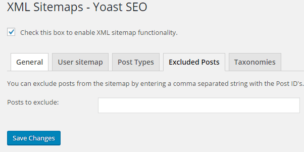 Excluded Posts from Sitemap