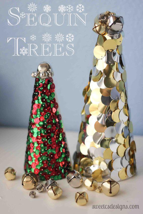 DIY: sequin christmas trees