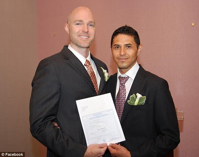Together: Brian Willingham, left, and Alfonso Garcia pictured on their wedding day last year. Garcia, an undocumented Mexican immigrant, faces deportation despite their marriage