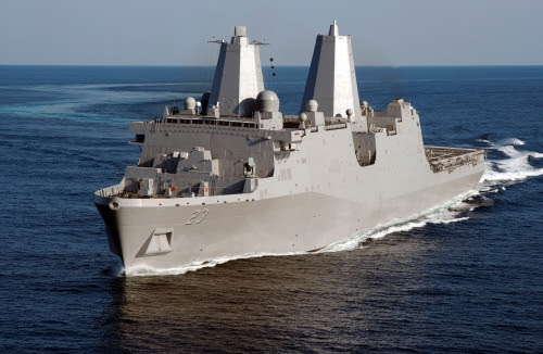 GULF OF MEXICO (May 15, 2012) The amphibious transport dock ship Pre-Commissioning Unit (PCU) Anchorage (LPD 23) conducts builder's sea trials.