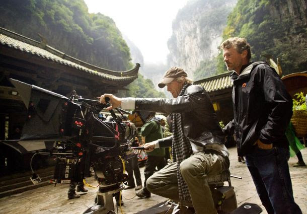 Director Michael Bay (center) on the Transformers 4 set in China.