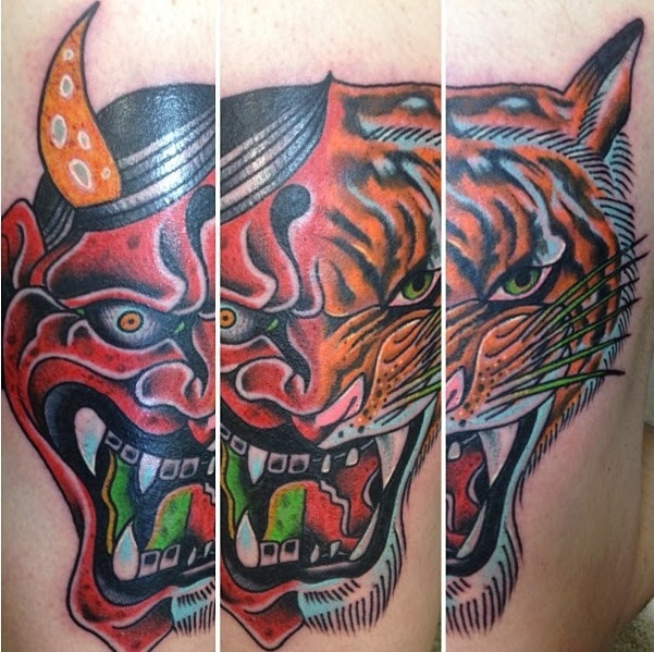 Half Hannya Half Tiger Face Thigh Piece Done By Peter Larkin At
