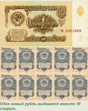 Один новый рубль выдавался вместо 10 старых.