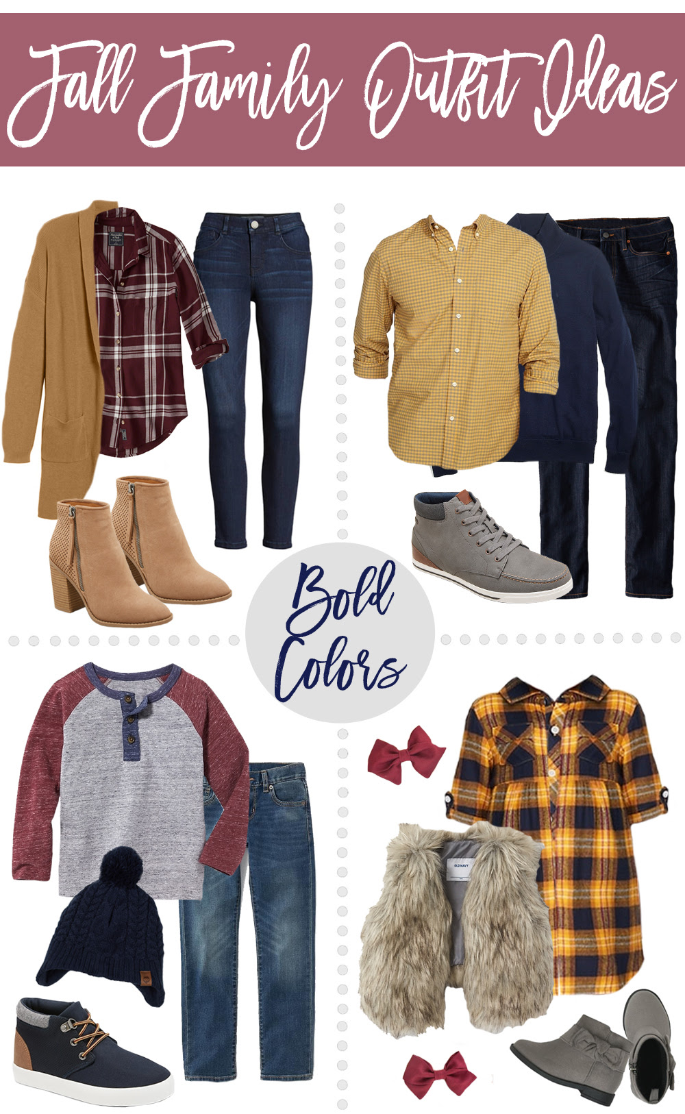 Fall Family Outfit Ideas Bold Color Neutral Color Options