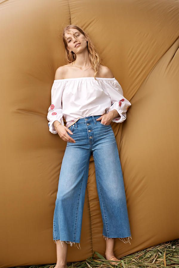 Le Fashion Blog Shop Madewell New Arrivals Wide Leg Cropped Jeans Via Madewell