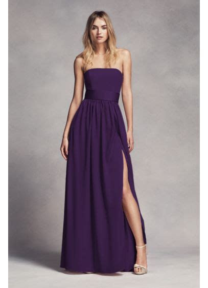 Long Strapless Bridesmaid Dress with Belt   David's Bridal