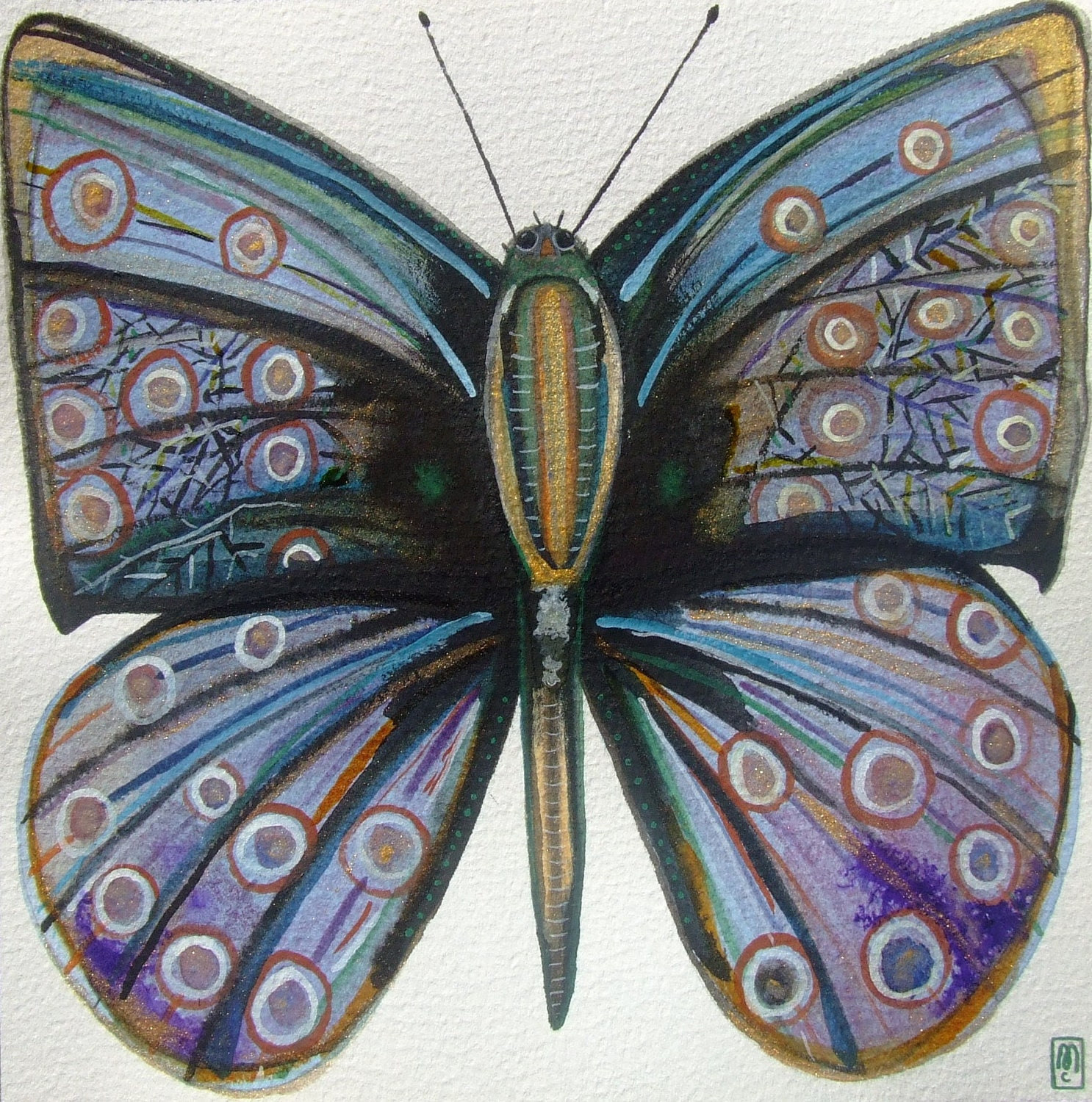 "Original drawing, watercolor and ink, butterfly, ""Papillon"" - CelineArtGalerie"