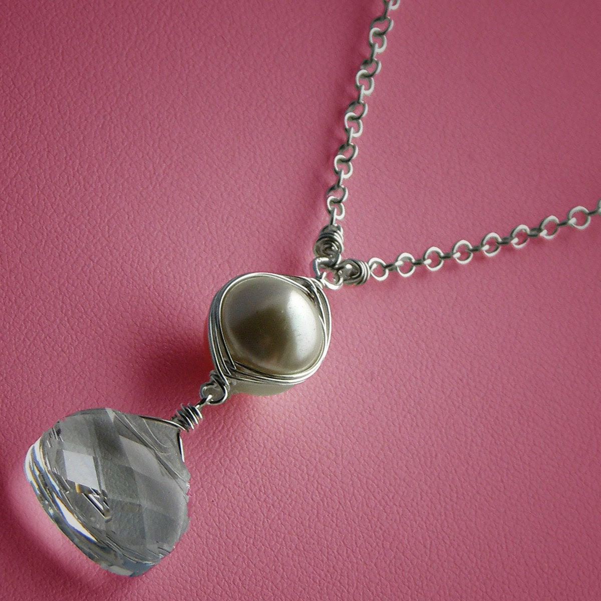 Winter White Wire-wrapped Necklace, Ivory Freshwater Pearl Hand-wrapped in Sterling Silver, Swarovski Crystal Briolette