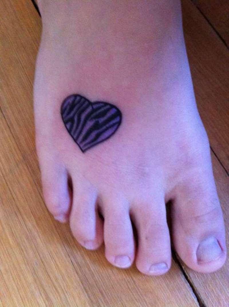 Zebra Heart Tattoo On Right Foot Tattoos Book 65000 Tattoos Designs