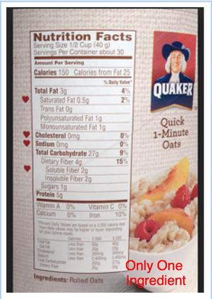 34 Quaker Oats Nutrition Facts Label
