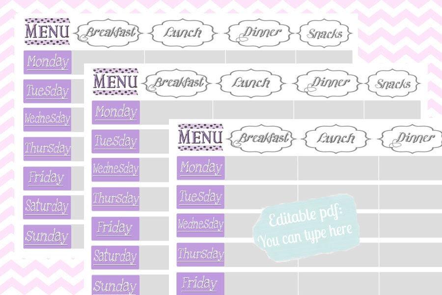 Weekly menu planner printable, Perpetual planner,editable PDF, A4 ...