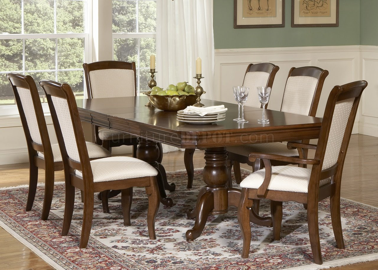 Cherry Finish Double Pedestal Formal Dining Table w\/Options