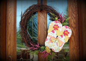 flip flop wreath/pink polka dot creations