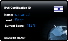 IPv6 Certification Badge for shiranp3