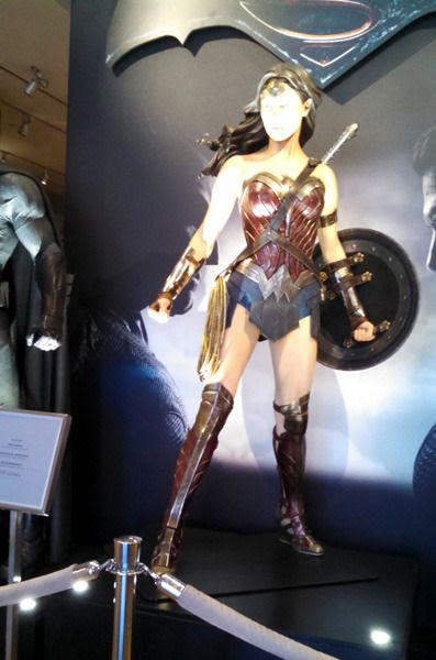 The Wonder Woman costume worn by Gal Gadot in BATMAN V SUPERMAN: DAWN OF JUSTICE...as seen at Warner Bros studio on September 8, 2015.