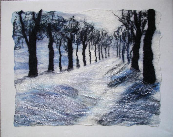 'Avenue des arbres en hiver ».  Merino et la soie de mûrier.