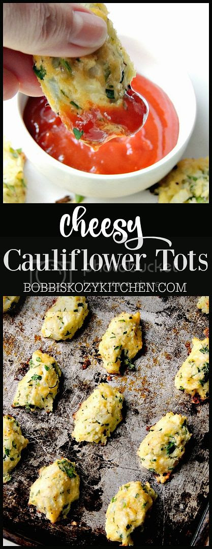 Cheesy Baked Cauliflower Tots aka Cauli-tots from www.bobbiskozykitchen.com