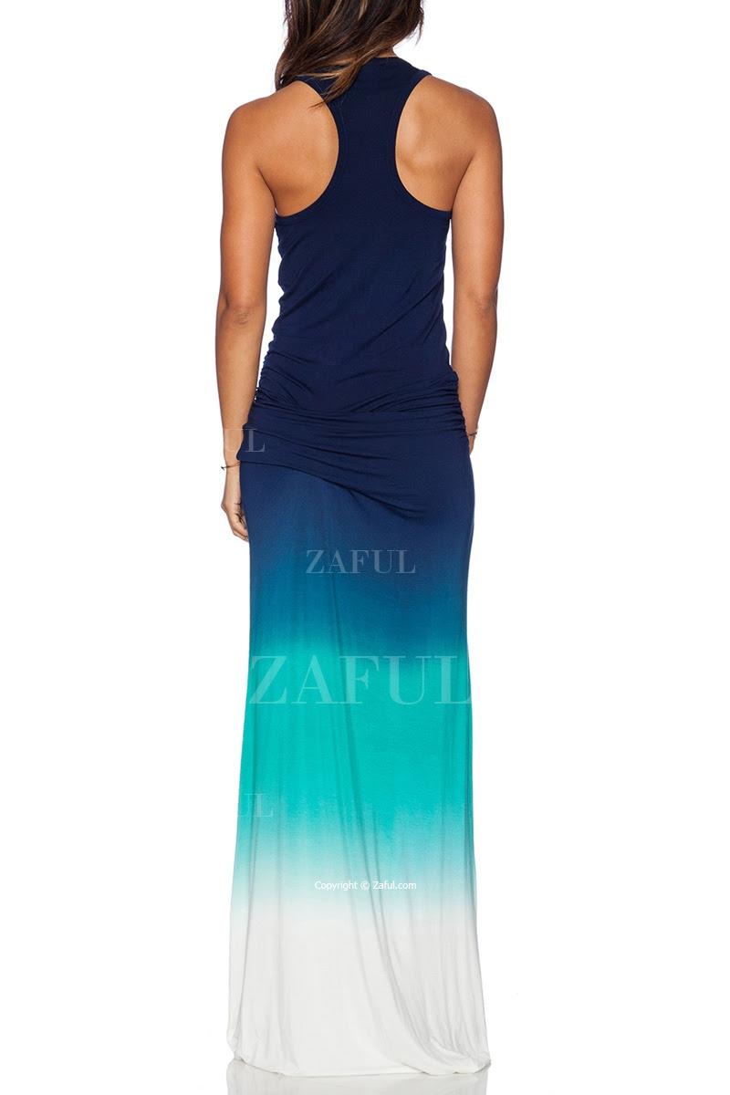 أومبير اللون الرقبة سكوب ماكسي فستان الشمس