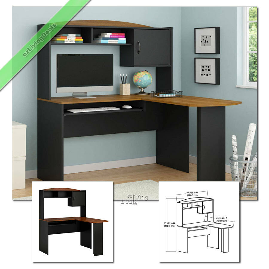 Home Office Desk with Hutch LShaped Wood Corner Computer Desks, Black \u0026 Cherry  eBay