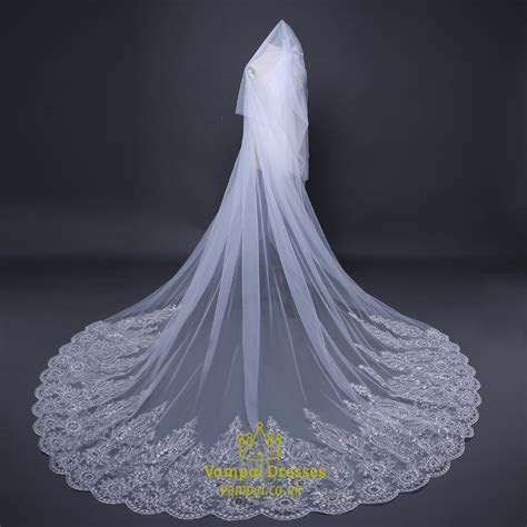 One Tier Lace Applique Edge Cathedral Bridal Veil With