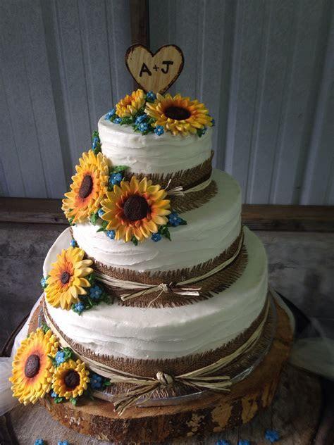 Sunflower yellow blue wedding cake three 3 tier country