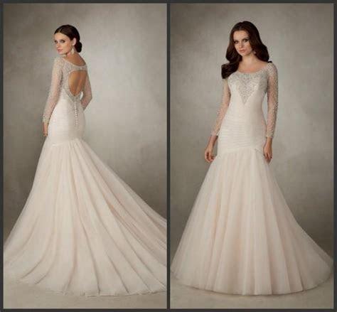 Sexy Illusion Mermaid Long Sleeve Wedding Dresses 2016