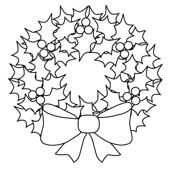 Christmas Wreath - Free Colouring Pages
