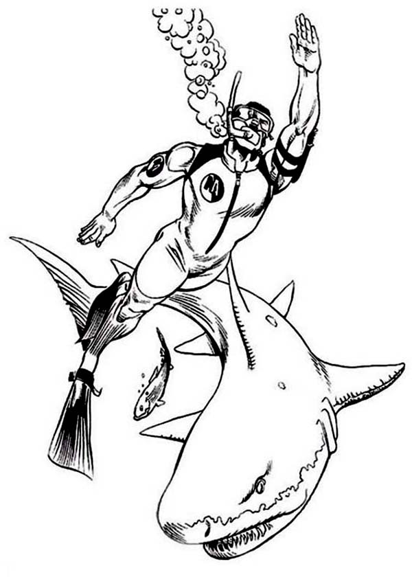 Action Man Diving with Sharks Coloring Pages | Coloring Sky