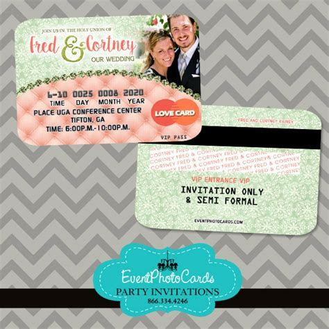 Coral Mint Couture Wedding Invitations   Credit Card