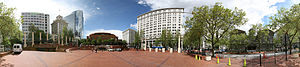 A 360 degree panorama of Pioneer Courthouse Sq...