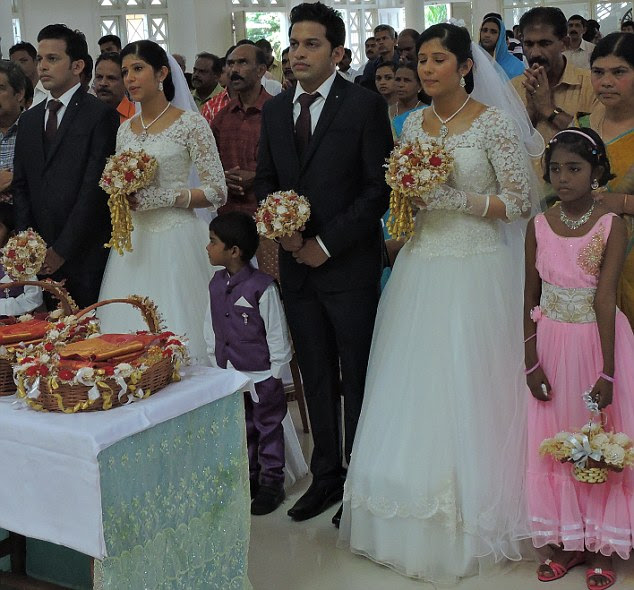 Twin times: In total, there were seven sets of twins at the ceremony including priests, who travelled 600km from their homes to conduct the ceremonyin Thrissur, Kerala State on the west coast