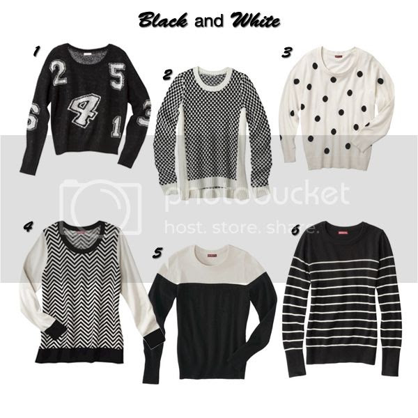black and white sweaters at Target for fall 2013, monochromatic fashion trend, Target Style sweaters
