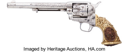 "Handguns:Single Action Revolver, Fine Nimschke-Style Engraved Colt Single Action Army Revolver With""Tiffany"" Grips Shipped in 1876 and Pictured in ""Colt Pisto... Image #2"
