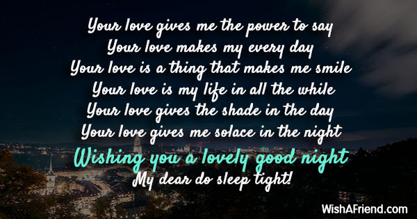 Your Love Gives Me The Power Romantic Good Night Message
