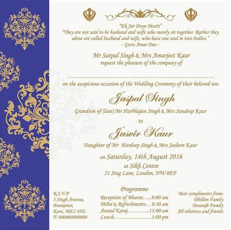 Wedding Invitation Wording For Sikh Wedding Ceremony