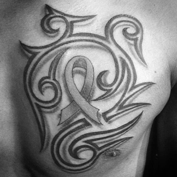 70 Cancer Ribbon Tattoos For Men Supportive Design Ideas