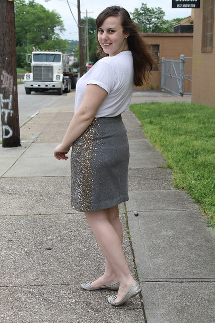 Daytime sequins outfit: wool sequined pencil skirt from Anthropologie, silver flats, boyfriend's t-shirt, brass and glass J. Crew necklace