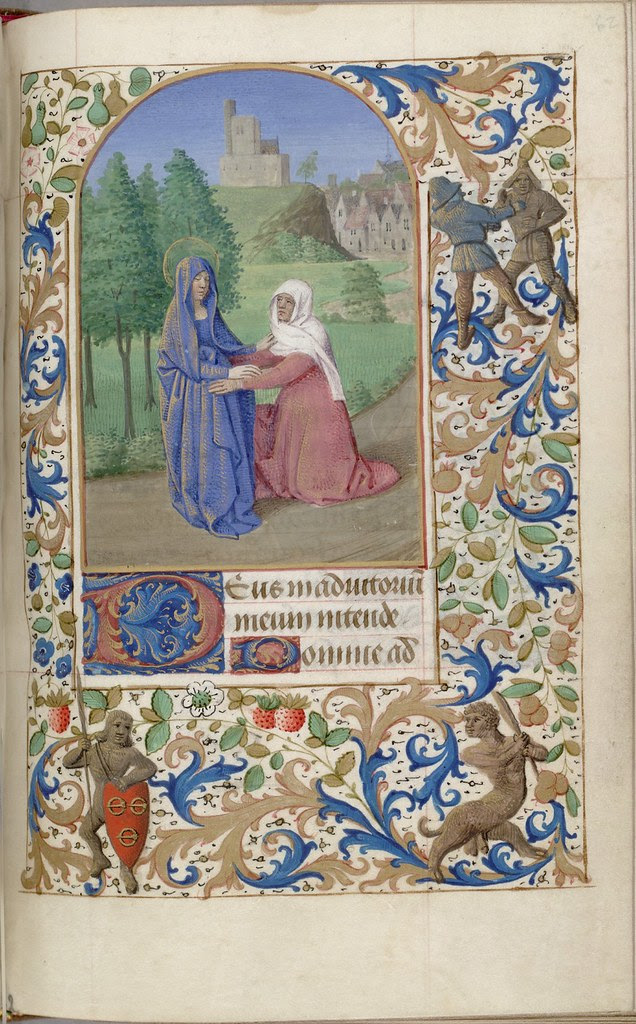 Visitation; in the lower margin, soldier with arms of Malet de Graville f62