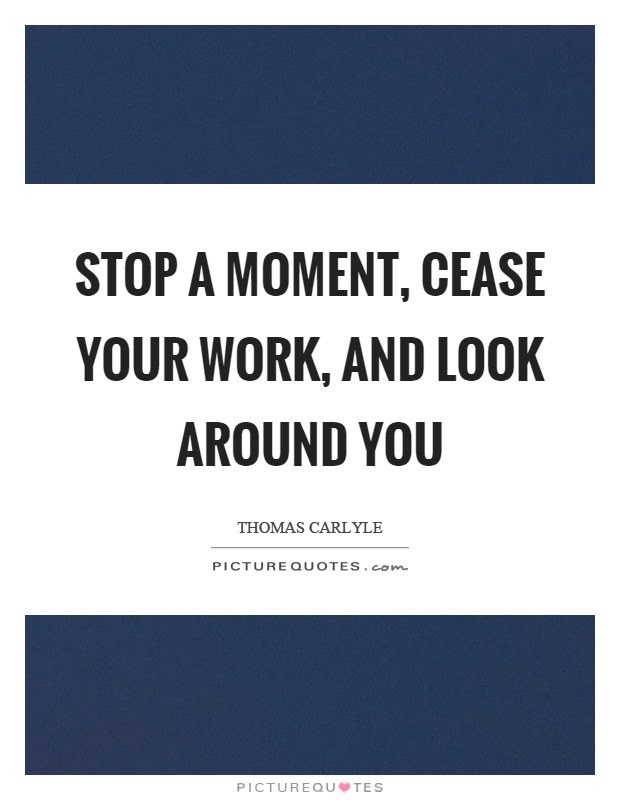 Stop A Moment Cease Your Work And Look Around You Picture Quotes