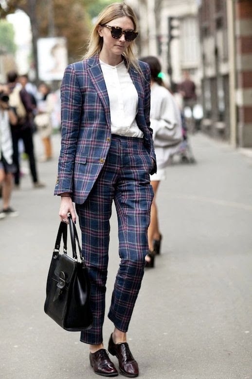 Le Fashion Blog Street Style Pfw Contrasting Sunglasses Tartan Suit White Collarless Button Down Shirt Leather Tote Bag Burgundy Oxfords Via Popsugar